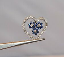 3503- LADIES 14K WHITE GOLD DIAMOND AND SAPPHIRE HEART PENDANT 1.35CTS 3.95GRAMS