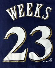 RICKIE WEEKS JR. #23 T-SHIRT ~Milwaukee Brewers MLB Pro Baseball SMALL Blue Gold