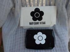 Vintage Original Mary Quant Cosmetics Bag, Black PVC Kitbag, Make up