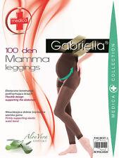 BLACK 100 Denier Maternity Leggings M/L Pregnancy GABRIELLA Medica Comfort Soft