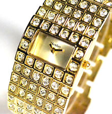 Henley Ladies Gold Tone Cocktail Watch Sparkly Genuine Crystals, Gift Idea