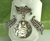 LOS BALLESTEROS Taxco Set 1940s STERLING Silver ABALONE Inlay Mexico KOI FISH