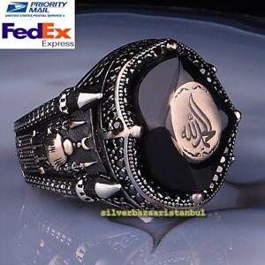 Black Onyx Stone Islamic Elhamdulillah Handmade New Mens 925 Silver Ring