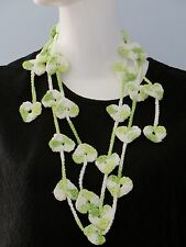 New Handmade Crochet Green Hearts Scarf Necklace Lariat
