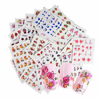55PC Nail Water Decals Flower Butterfly Nail Art Transfer Stickers Decor Fashion