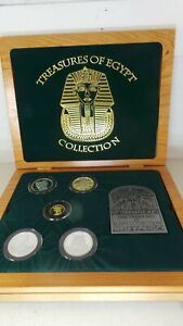 1993 LIMITED To 1,250 Series 1 Treasures Of Egypt GOLD & SILVER 5 Coin Set w/COA