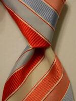 ETON Men's Silk Necktie ITALY Luxury Designer STRIPED Pink/Red/Blue/White EUC