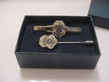 vintage united states postal police officer tie clip and stick pin -silver color