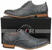 Mens New Grey Lace Up Leather Lined Capped Brogue Shoes Size 6 7 8 9 10 11 12