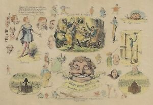 "Cruickshank Coloured Etching - ""HOOD'S COMIC ANNUAL"" - 1834"