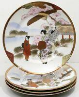 Vintage Japan Porcelain Four Plates Hand Painted Man Woman Geisha Cherry Blossom