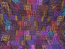 Kantha quilt indian silk patola vintage bohemian queen size handmade bedspread