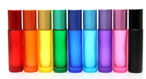 5x10ml Gradient Empty Glass Roll Bottle Metal Roller Ball Essential Oil Bottles