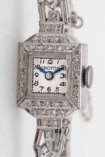Vintage 1950s $5000 1.50ct VS G Diamond CROTON 14k White Gold Ladies Watch WTY