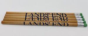 """LANDS' END Advertising Wooden pencils green tip eraser 7 1/2"""" Lot Of Five 5"""