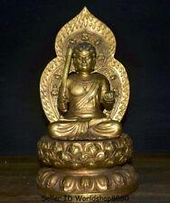"12"" Old Buddhism Temple Bronze Gilt Japan Fudo Myo-o、/ Acalanatha Buddha Statue"