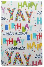 Happy Birthday Flannel Back Vinyl Tablecoths Confetti Assorted Sizes Oblong & Rd