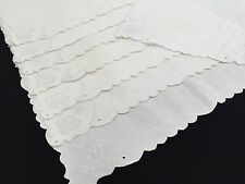 Vintage White Floral Whitework Embroidery Placemats Set Of 8 (RF336)