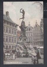 BELGIUM 1911 BRABO FOUNTAIN POSTCARD ANTWERP TO CARNPORE INDIA