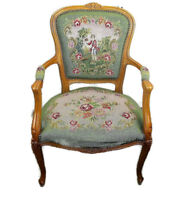 Needlepoint Armchair Fauteuil Louis XV style Carved Wood Hobnails Young Boy HTF