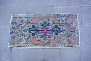 Vintage Rug 1.6x3,Turkish Rug,Small Rug,Door Mat,Low Pile Rug,Oushak Rug,Old Rug