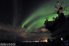 Royal Navy HMS Ocean Arctic Circle Norway Northern Lights 12x8 Inch Photo
