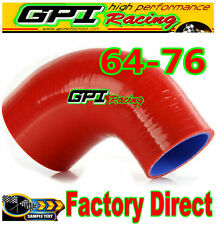 "NEW 2.5""-3"" 90° DEGREE 63mm-76 mm TURBO SILICONE ELBOW COUPLER HOSE PIPE RED"