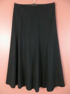 SK15860-TALBOTS Women's 99% Wool Thin Flannel Paneled Flare Skirt Solid Black 10