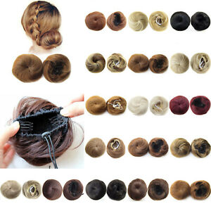 Nature Women Straight Small Hair Bun Wigs Updo Cover Clip Hair Pieces Hairpieces