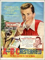 1950 vintage AD CHESTERFIELD Cigarettes w/ Very young KIRK DOUGLAS 072620