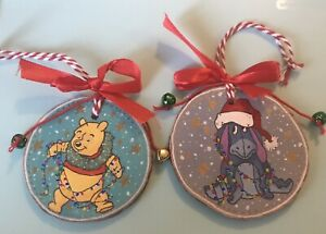 Handmade Painted Wooden Slice Christmas Decorations Winnie The Pooh And Eeyore