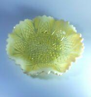 Rare Victorian Davidson Queens Crown Vintage Uranium Vaseline Glass Art Plate