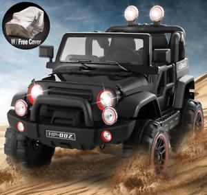 12V Battery Kids Ride on Truck Car Toys MP3 LED Light Remote Control+Cover Black