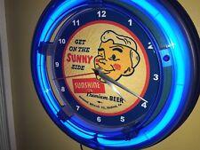 *** Sunshine Reading PA Beer Bar Advertising Man Cave Blue Neon Wall Clock Sign