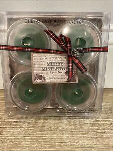 Box OF 4 BATH & BODY WORKS MERRY MISTLETOE SCENTED CANDLE 1.4 Oz GLASS Votives