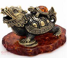Solid Brass Amber Figurine Magical Dragon Tortoise Turtle talisman IronWork