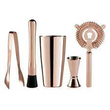 OGGI 5 Piece Copper Plated Stainless Steel Bartender Accessories Set New