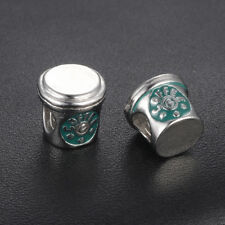New Green Coffee Cup Charm Love A Coffee Silver Plated Charm Bead + Gift Bag