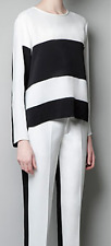 Zara Black & White Monochrome Trouser Pants Size S