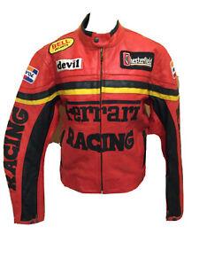 Vintage 1990's Ferrari Motorcycle Red Racing Leather Jacket U.K. Small T2133