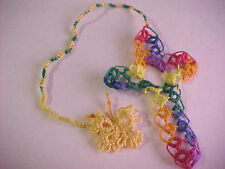 DOVE COUNTRY Tatted CROSS BOOKMARK Easter Butterfly Lace Bible Gift Tatting