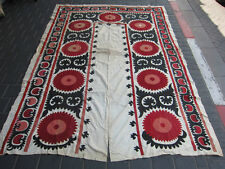 ANTIQUE UZBEK SILK HAND MADE- EMBROIDERED SUZANI 230x160-cm / 90.5x62.9-inches