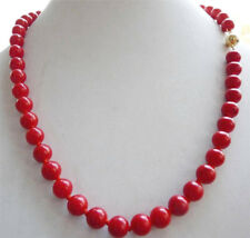 Beautiful 10mm Coral Red Shell Pearl Round Beads Necklace 18 Inches PN1513