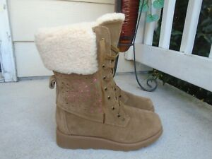Kids Bearpaw Kylie Lace Up Winter Boots - Hickory womens sz 7- girls sz 5