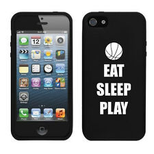 For iPhone 4 4s 5 5s 5c Silicone Soft Rubber Skin Case Eat Sleep Basketball