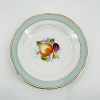 "KPM Vintage Set of 2 Porcelain Peach Fruit Scene Plates 8"" Green Gray Band"