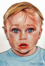 Ritratto da foto bambini bambino pastelli su cartoncino su commissione bambini