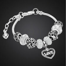 Bettelarmband Armreif Silber für Charms Anhänger Armband Herz 102D