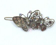 Bejeweled Butterfly Hair barrette antiqued Gold tone Amber Aurora Borealis