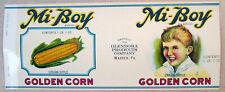 Cream Corn Glendora Products Company Warren PA Can Label 1940 Graphics Mi-Boy